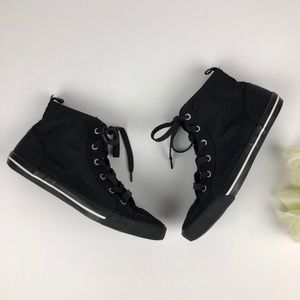 Old Navy All Black High Top Lace Up Shoes Size 8